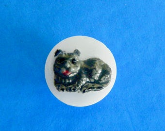 """Vintage White Glass Button Raised Hand Painted Gray Cat or Possibly a Dog 1/2"""""""