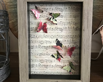 Captured Butterflies in the Music Framed, Great for housewarming gift, Music lover, Gift for her
