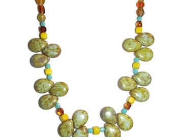 Czech Glass Teardrop Necklace. Czech Glass. Southwestern Boho. Picasso Finish Czech Glass  N61