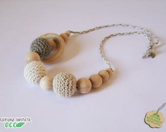 Cotton nursing necklace recycled white beige Brown