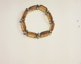 Beautiful Brown and silver beaded bracelet.