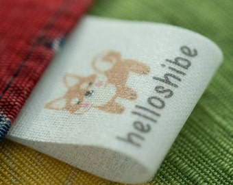 Light thin White / Beige cotton labels personalised sew in labels clothing labels PRE-CUT 100 pcs