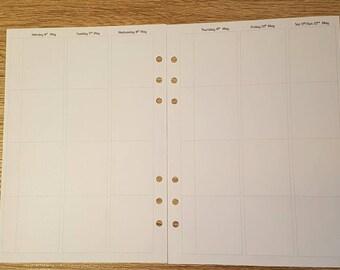 Printed WO2P A5 Family Planner Vertical Inserts for Filofax/Large Kikki K/Carpe Diem Planners - V4