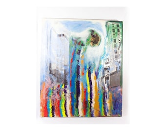 Contemporary Mixed Media Painting Decoupage Apocalyptic Scene, End Of The World Painting, Dystopian Painting, Abstract Painting, Apocalyptic
