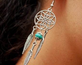 Dream catcher earrings, Silver round earrings, Feather earrings, Emerald earrings, Hippie earrings