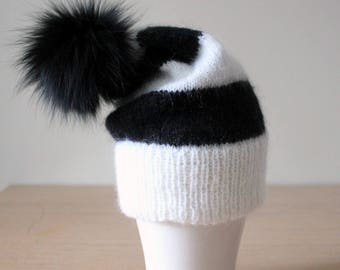 Black and white hat, Fur pom pom hat, Mohair hat, Double brim hat, Fur bobble hat, Striped hat, Fluffy hat, Pom slouchy beanie