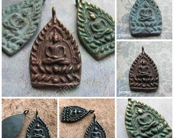 Choice of Brass Buddha Pendant, Buddha, Sitting Buddha Pendant,Buddha Amulet, Patina, Brass Patina, Buddha Amulet Pendant, Amulet, Buddha