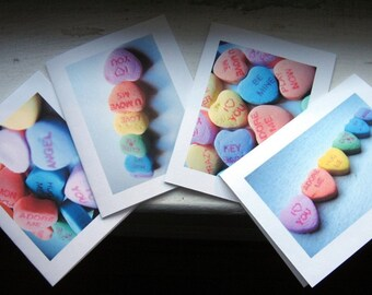 Valentine Cards, Candy Heart Photo Art Note Cards, Set of 4