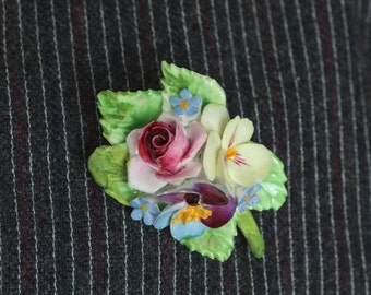 Vintage 50s Enamel Flower Brooch | Painted Rose Pin | Floral Estate Jewelry