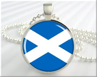 Scotland Flag Pendant, Scottish Flag Necklace, St Andrew's Cross, Blue White, Saltire Pendant, Gift Under 20, Scottish Gift 751RS
