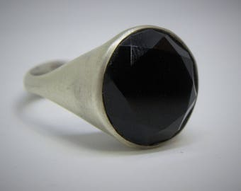 Silver Signet Ring for Men, Black Onyx Gemstone Full-Cut Ring, 925 Sterling Silver,  December Birthstone Gift Ring