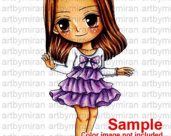 Digital Stamp-Sweet Claire, Digi Stamp, Coloring page, Printable Line art for Card and Craft Supply, Art by Mi Ran Jung