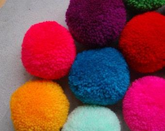 "15 PCS x Large Round & Fluffy Pom Poms Handmade DIY Craft Supply (2"" Diameter)"