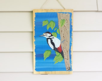 Hand Painted Woodpecker Bird - Bird Painting - Reclaimed Wood - Woodpecker Art - Cedar Wood - Woodpecker Decor - Bird Wall Hanging