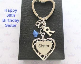Sister 60th birthday gift - 60th keychain - Sister gift - Personalised 60th keyring - Personalised sister keyring - Sister keychain - UK