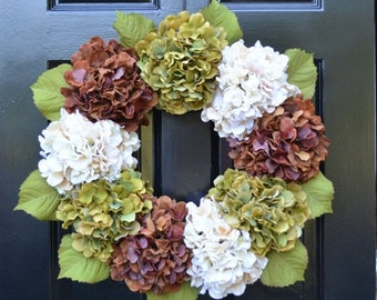 SUMMER WREATH SALE Fall Hydrangea Wreath, Hydrangea Fall Wreath, Fall Decor, Fall Decoration, Fall Hydrangeas, Large Wreath, Outdoor Decor,