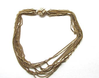 vintage multichain necklace . 11 strand collar necklace . multi chain swag necklace . 50s 60s mid century jewelry