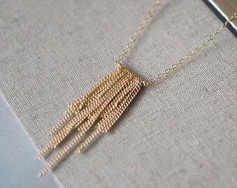 "boho 14k goldfill fringe handmade necklace - layered gold jewelry - ""l'amour"" necklace by elephantine"