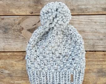 Knitting Pattern - Slouchy Beanie, Knit Hat, Toque, Pom Pom Hat, Pinecone Beanie