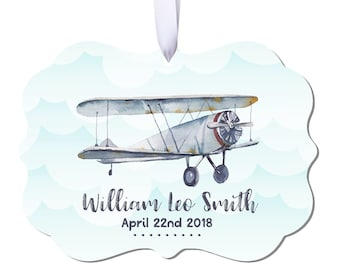 Airplane Ornament Personalized Christmas Ornament Personalized Baby Ornament Boys Ornament Baby Boy Ornament Baby Boy Gift Airplane RyElle