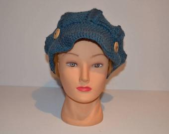 Crocheted newsboy style cap