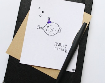 Party Puffer Fish birthday card set of three