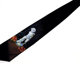Hand Painted Men Silk Art Tie Still Life with Cupid Paul Cezanne