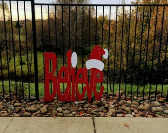 Believe Christmas Holiday Yard Sign With Santa Hat Large size