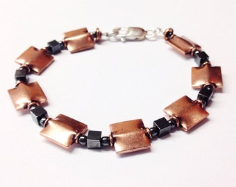 Copper Jewelry for him - Copper Bracelet men - 7th anniversary gift - 22nd anniversary gift - Copper Jewelry Men