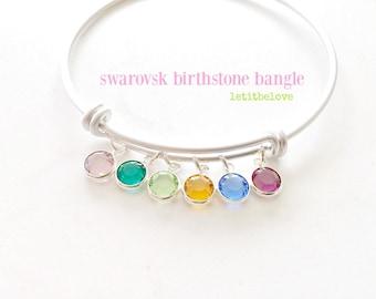 Birthstone Bangle Personalized Bangle Swarovski Birthstone Jewelry Silver Bangle Mother's Jewelry Birthstone Jewelry Bridesmaid Gifts Silver