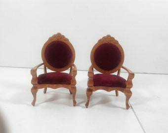 Dollhouse Miniature Single Chair Wooden Furniture For Room Kitchen Set of two Victorian Style