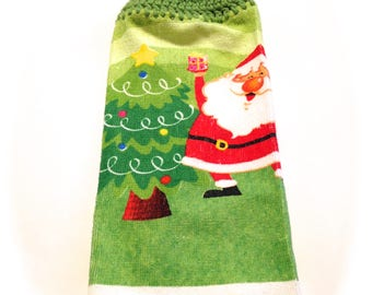 Santa And Christmas Tree Hand Towel With Grass Green Crocheted Top