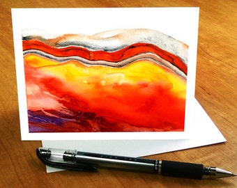 Watercolor Note Cards, Abstract Watercolor Cards, Red Abstract Stationary Set, Agate Stationery Cards, Contemporary Watercolor Notecards Set