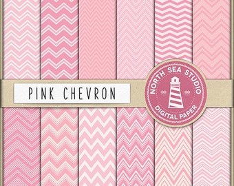 JUST A GIRL | Pink Chevron Digital Paper Pack | Scrapbook Paper | Printable Backgrounds | 12 JPG, 300dpi Files | BUY5FOR8