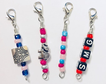 Beaded Zipper Charms // Set of 4