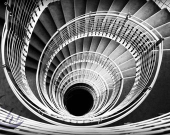 Stairs Photography.  Interior Design Photography. Black and White Photography 8x12 Print