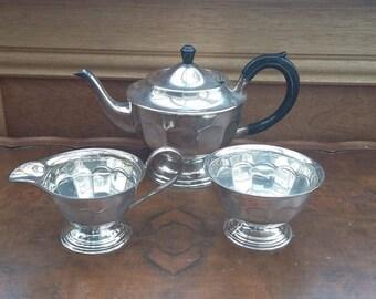 Vintage Silver Plate Teapot Milk and Jug Set Mid Century