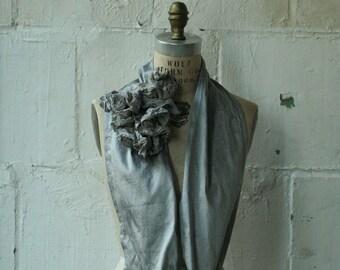 Silk Ruffle Gray Scarves, Pretty , Wedding, Elegant Accessories, Edgy, Infinity