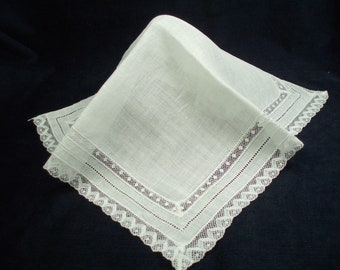 Delicate Inset Lace and Hemstitched Bride's Handkerchief Wedding Hankie