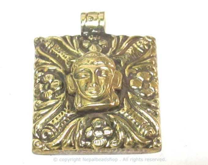 1 pendant - Tibetan square shape Buddha pendant antiqued golden color with floral animal mix design on other side   - PM589A