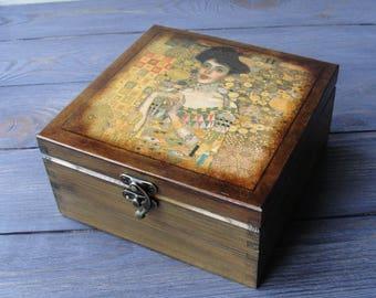 Wooden tea box Tea storage box Klimt Tea caddy Tea holder Tea bag box Tea bag storage Tea chest Wood tea box Tea gift box Tea lover gift