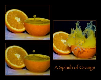 Food photography, orange, splash, poster