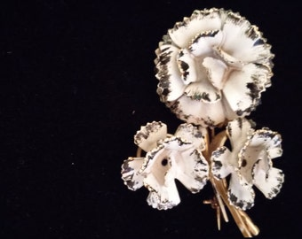 Carnation Brooch/Pin White and Black From The 1940's