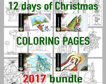 2017 christmas printable coloring pages bundle of 12