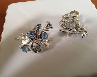 Vintage Coro Earrings Signed Blue Rhinestones