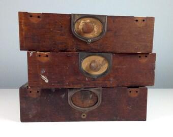 Antique Letter File / Rustic Wood Primitive Storage Box / Antique Office Decor / Man Cave Decor / 1800s / 1890 Office Decor