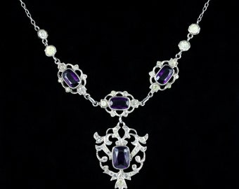 Amethyst Paste Lavaliere Necklace Silver
