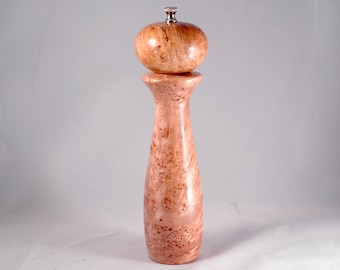 Pepper Grinder, handmade maple burl peppermill, modern wood pepper mill