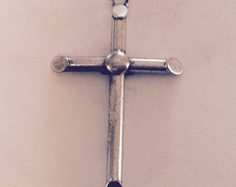 Christian cross sterling silver charm vintage # 377