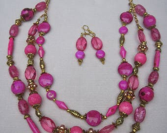 Summer Passionate Pink Three Strand Beaded Classic Necklace Set